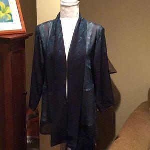 Chico's shawl collar sheer printed top